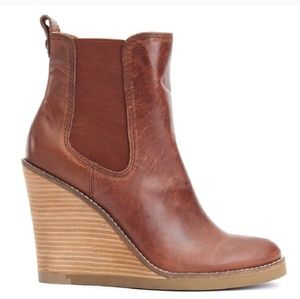 Lucky Brand | Brown Leather Ankle Wedge Booties